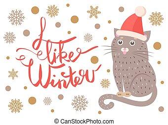 invierno, cartel, ilustración, gato, vector, como