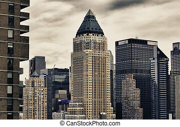 invierno, ciudad, rascacielos, nueva york