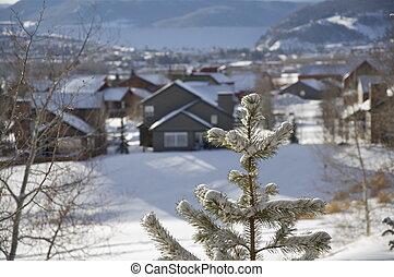 invierno, -, colorado, aldea