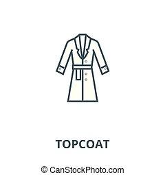 invierno, concepto, chamarra, símbolo, señal, lineal, vector, icono, línea, abrigoligero, contorno