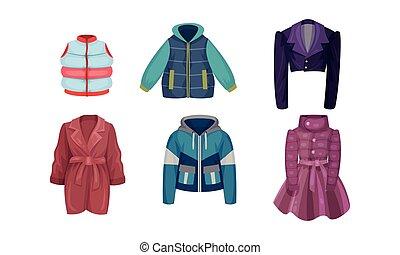 invierno, conjunto, otoñal, largo, vector, ropa de calle, ropa, artículos, sleeved