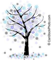 invierno, copos de nieve, árbol