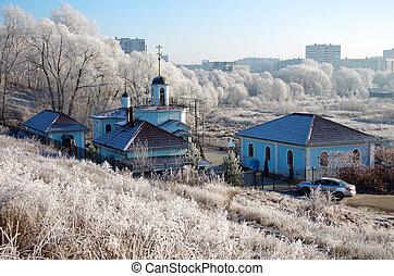 invierno, día, en, el, ruso, aldea