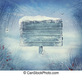 invierno, diseño, -, navidad, valle, con, señal