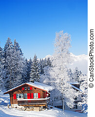 invierno, en, alpes