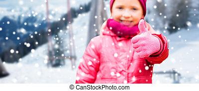 invierno, encima, arriba, pulgares, niña, actuación, feliz