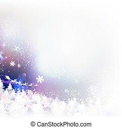 invierno, encima, claus, barre, bosque, santa, sleigh