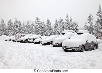 invierno, estacionamiento