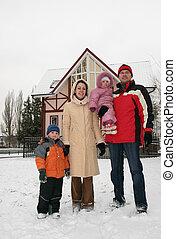 invierno, familia , casa, 2