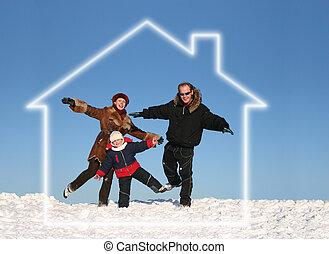 invierno, familia , en, casa ideal