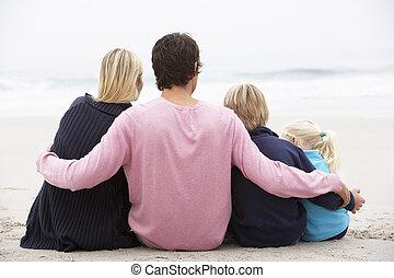 invierno, familia , sentado, joven, espalda, playa, vista