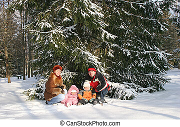 invierno, familia , sentarse, cerca, árbol