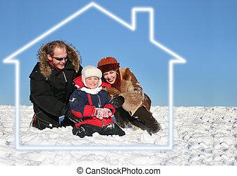 invierno, familia , sentarse, en, casa ideal