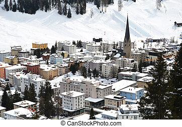 invierno, famoso, recurso, esquí, suizo, davos, vista