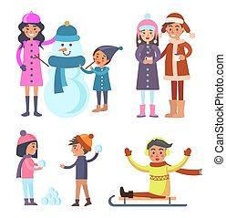 invierno, gente, iconos, colección, vector, ilustración
