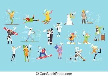 invierno, gente, ocupado, ilustración, vacaciones, deportes, vector, niños adultos