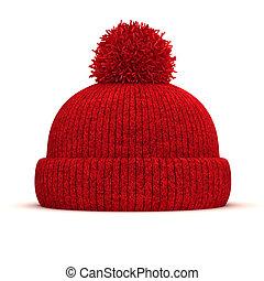 invierno, gorra, tejido, plano de fondo, rojo blanco, 3d