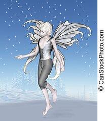 invierno, hada, niño, con, brillante, copos de nieve