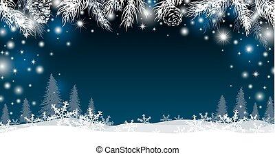 invierno, hojas, ilustración, vector, diseño, pino, plano de...