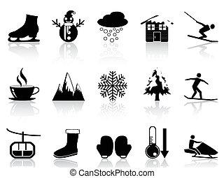 invierno, iconos, conjunto