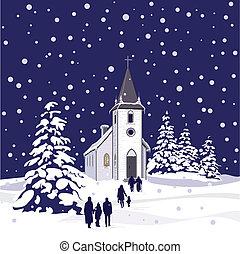 invierno, iglesia, por la noche