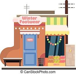 invierno, ilustración, frente, vector, calzado, navidad.