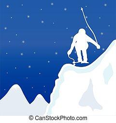 invierno, ilustración, vector, esquí, jupm, hombre