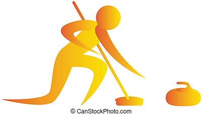 invierno, juego, curling, humano, juego
