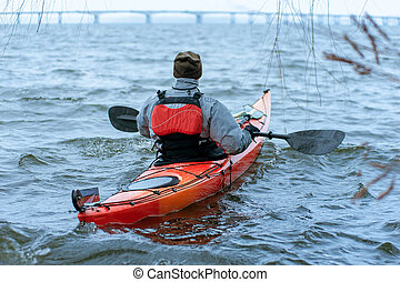invierno, kayaking, en, el, río, en, ucrania, 06