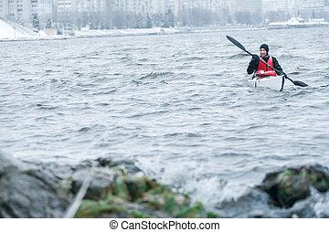 invierno, kayaking, en, el, río, en, ucrania, 10