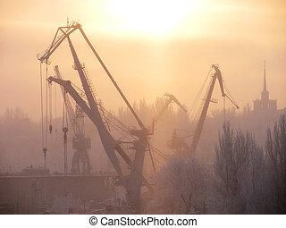 invierno, mañana, encima, construcción naval, planta