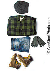 invierno, macho, moda, accesorios, de, cima, a, fondo
