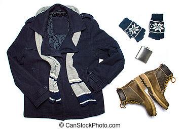 invierno, macho, moda, accesorios, plano, colocar, aislado, blanco