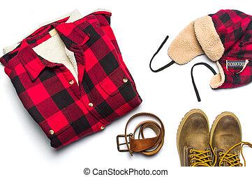invierno, macho, moda, accesorios, plano, colocar, aislado