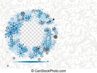 invierno, marco, con, lugar, para, su, foto