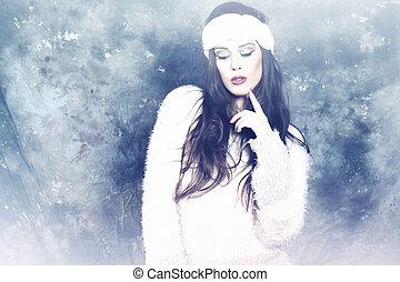 invierno, moda, retrato