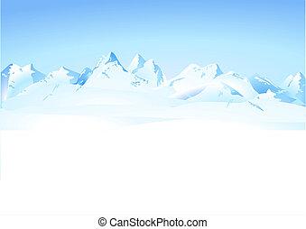 invierno, montañas, panorama