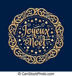 invierno, navidad, fondo., joyeux, noel., card.