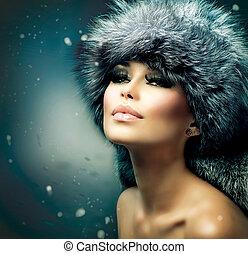 invierno, navidad, mujer, portrait., hermoso, niña, en, sombrero de prenda de piel