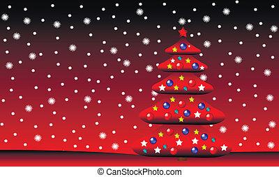 invierno, navidad, paisaje, con, árbol abeto