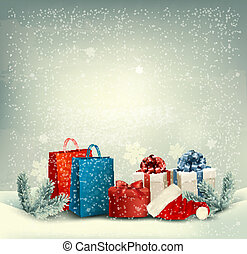 invierno, navidad, vector., plano de fondo, presentes.