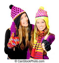 invierno, niñas, joven, sonriente, mujeres, sombrero, o, ...