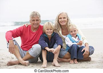 invierno, nietos, sentado, abuelos, juntos, playa