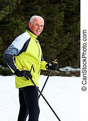 invierno, país, cruz, esquí, durante, 3º edad