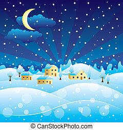 invierno, paisaje rural, con, navidad, nevada