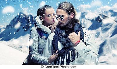 invierno, pareja, vacaciones, diversión, teniendo, guapo