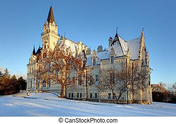 invierno, parque, con, castillo, en, un, eslovaquia