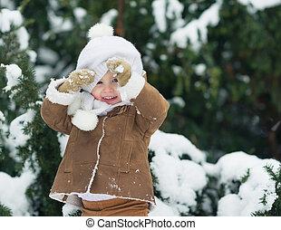 invierno, parque, mirar, bebé, retrato, feliz, sombrero,...