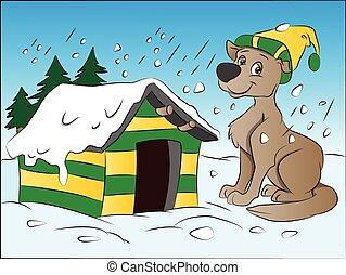 invierno, perro, ilustración