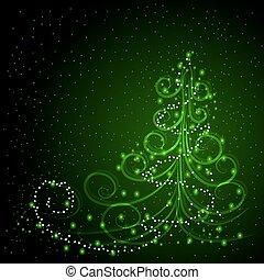 invierno, plano de fondo, con, árbol de navidad
